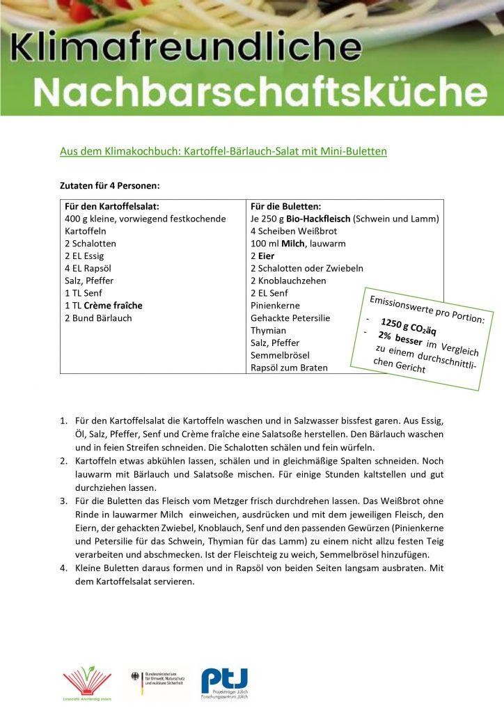 Klimakochbuch Kartoffelsalat mit Mini-Buletten