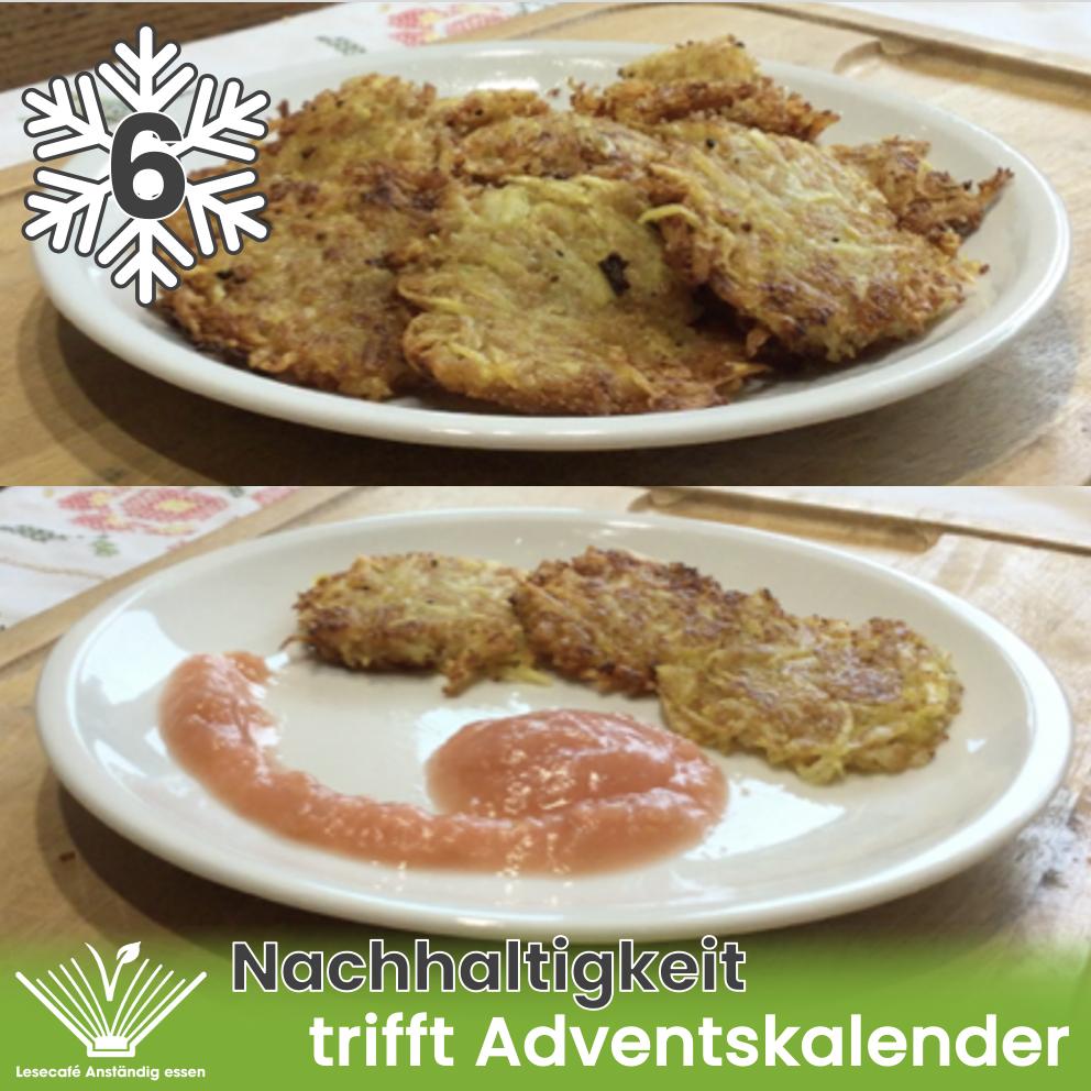 6. Türchen: Kartoffel-Couscous-Puffer mit Apfelmus